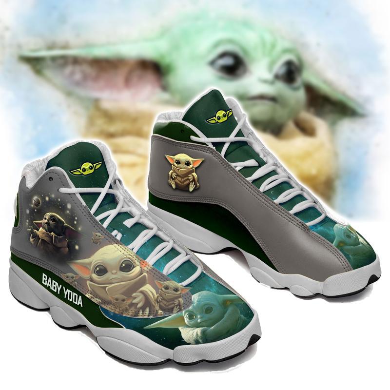 Baby Yoda From Star Wars Jordan 13 Shoes Custom Jd13 Sneakers ...