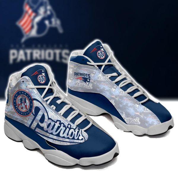 New England Patriots Team Jordan 13 Shoes Custom Jd13 Sneakers ...